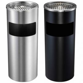 Waste Container - Metal W/ Ashtray (Black)
