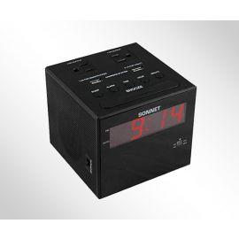 "Sonnet R-1414 0.9"" LED Charging Station Clock Radio w/ 2 USB & 2 110 Volt Plugs"